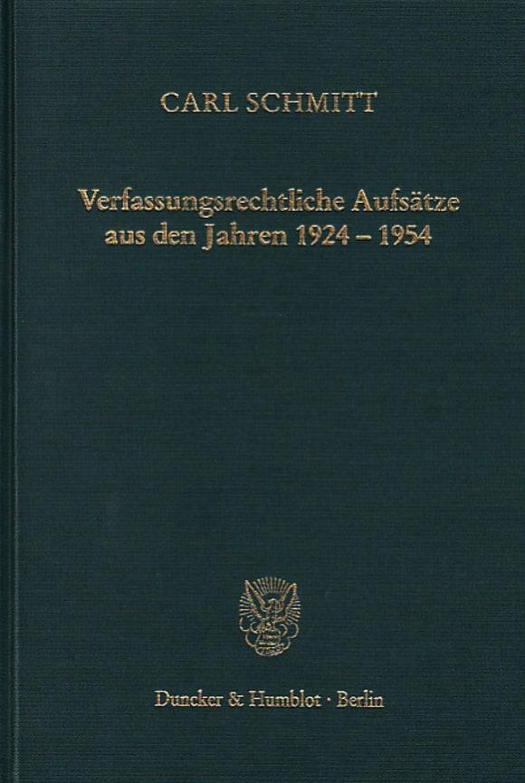 Cover Verfassungsrechtliche Aufsätze aus den Jahren 1924–1954