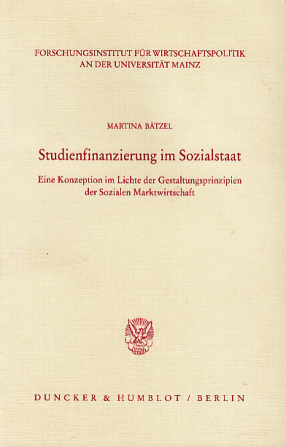 Cover Studienfinanzierung im Sozialstaat