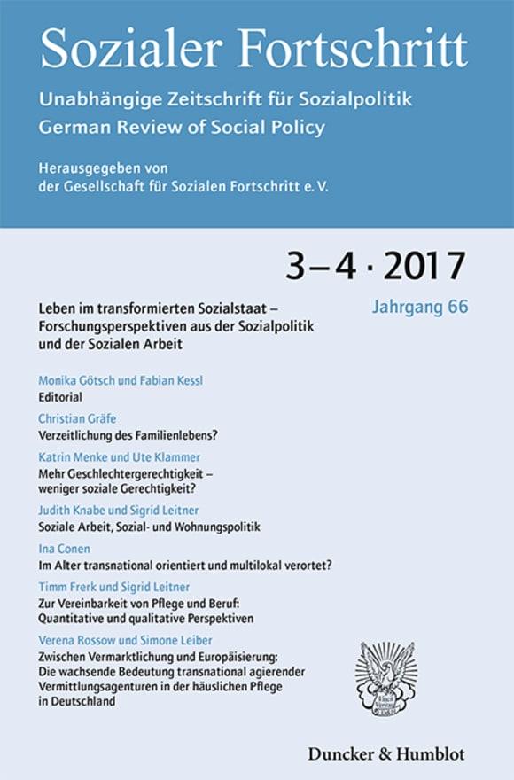Cover Leben im transformierten Sozialstaat – Forschungsperspektiven aus der Sozialpolitik und der Sozialen Arbeit (SF 3–4/2017)