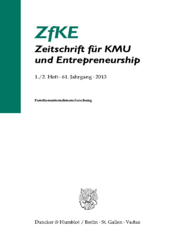 Cover Familienunternehmensforschung (ZfKE 1–2/2013)