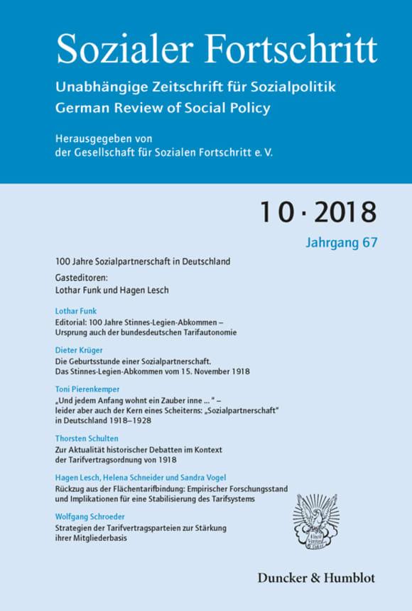 Cover 100 Jahre Sozialpartnerschaft in Deutschland (SF 10/2018)