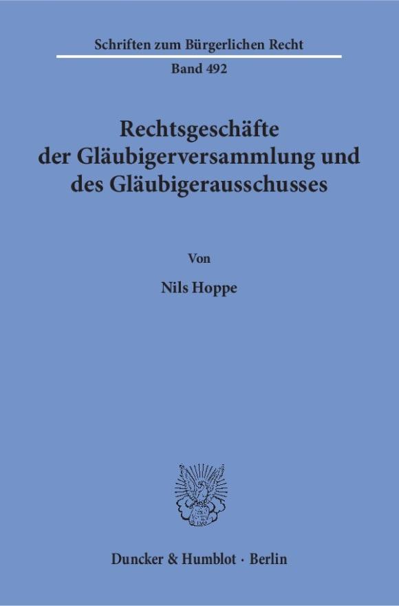 Cover Rechtsgeschäfte der Gläubigerversammlung und des Gläubigerausschusses