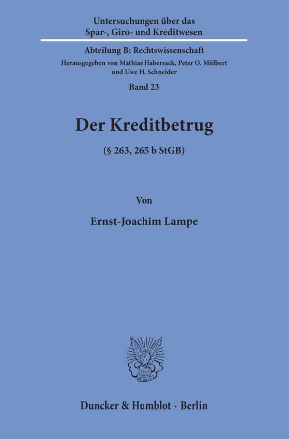 Cover Der Kreditbetrug (§ 263, 265 b StGB)