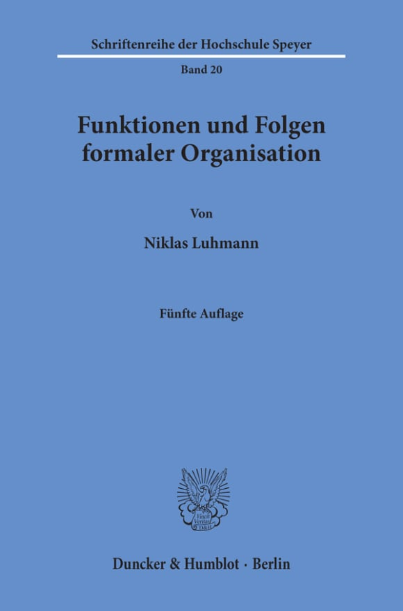 Cover Funktionen und Folgen formaler Organisation