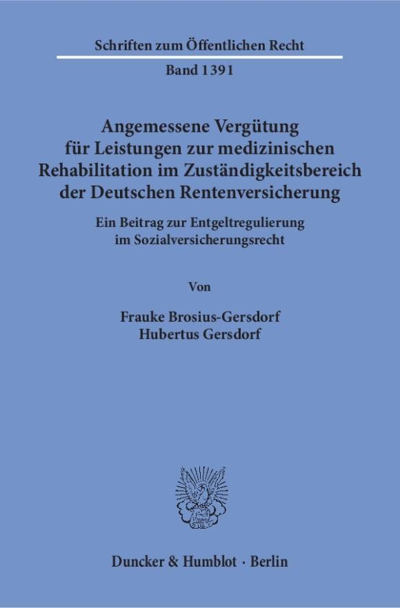 Cover Angemessene Vergütung für Leistungen zur medizinischen Rehabilitation im Zuständigkeitsbereich der Deutschen Rentenversicherung