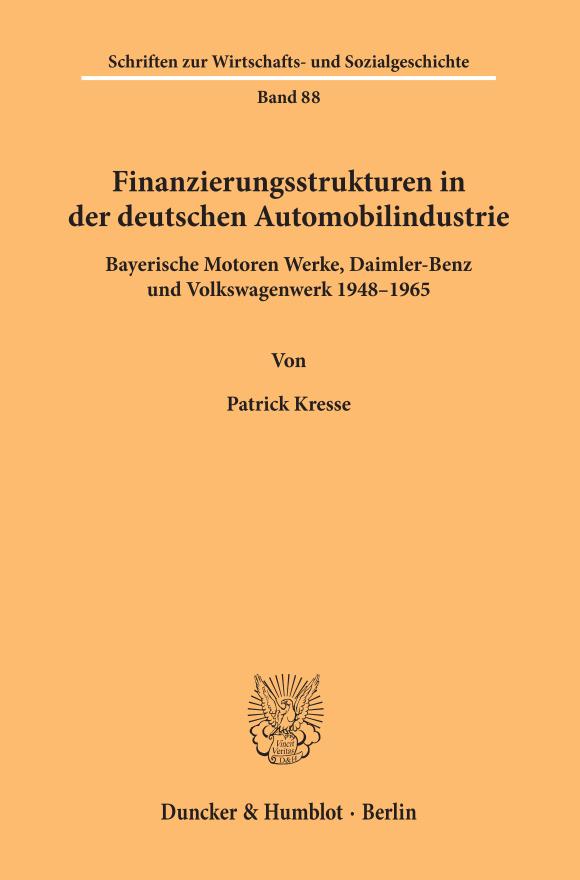 Cover Finanzierungsstrukturen in der deutschen Automobilindustrie