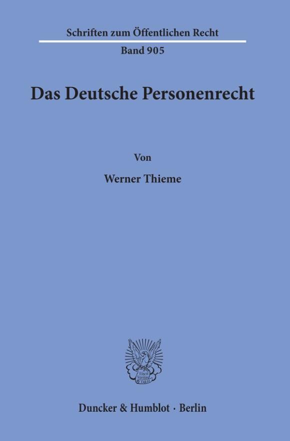 Cover Das Deutsche Personenrecht