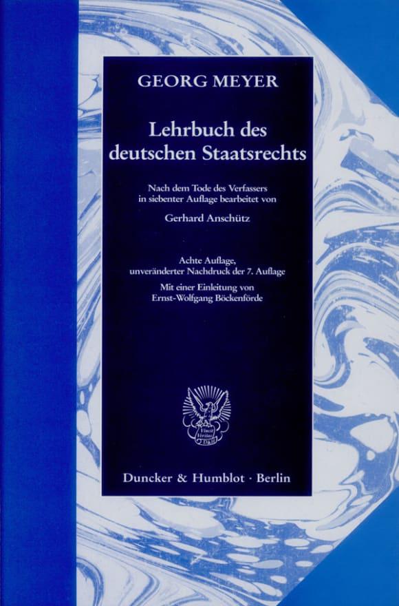 Cover Lehrbuch des deutschen Staatsrechts