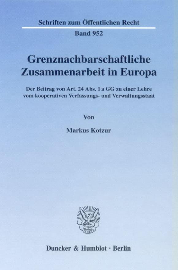 Cover Grenznachbarschaftliche Zusammenarbeit in Europa
