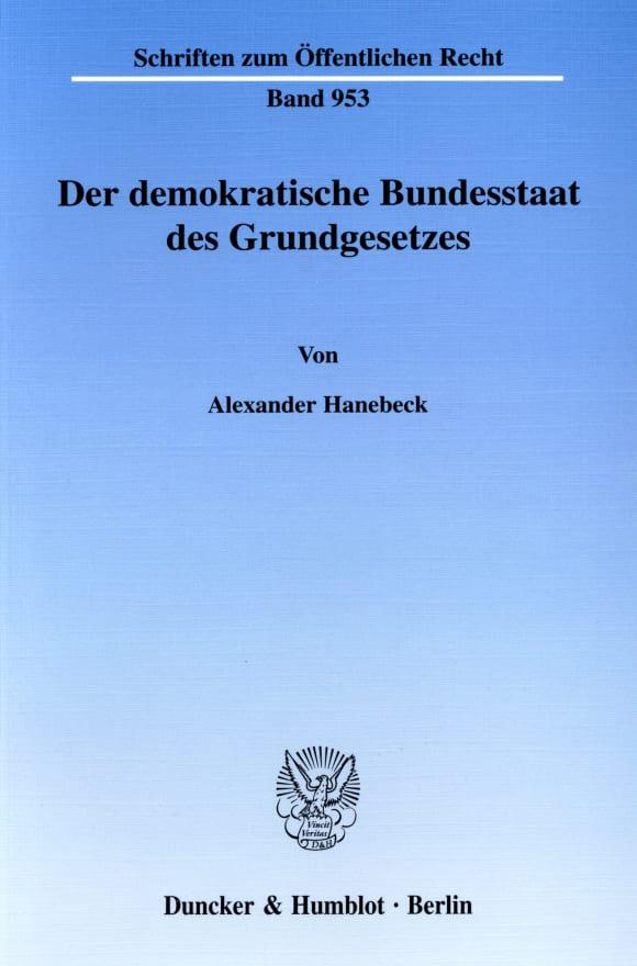 Cover Der demokratische Bundesstaat des Grundgesetzes