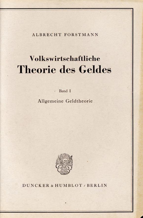 Cover Volkswirtschaftliche Theorie des Geldes