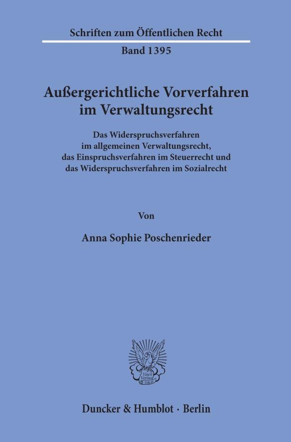 Cover Außergerichtliche Vorverfahren im Verwaltungsrecht