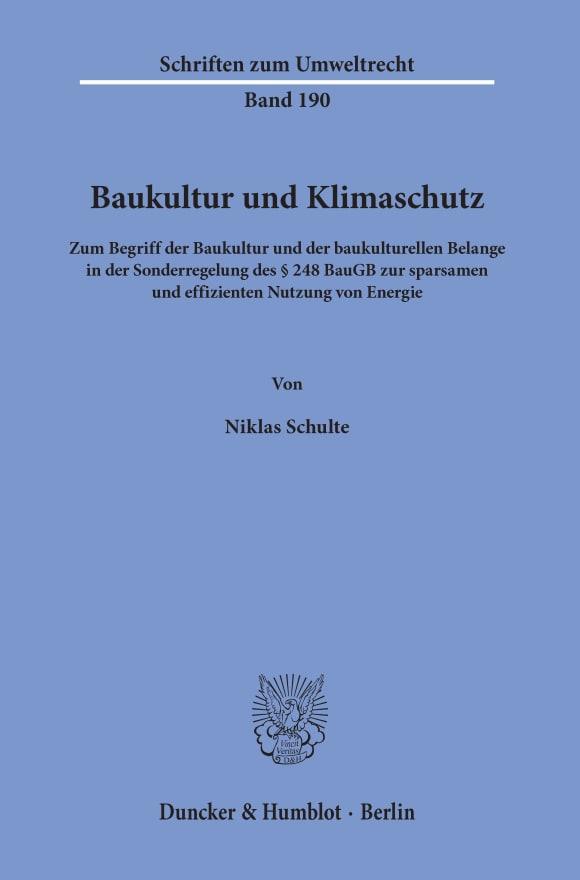 Cover Baukultur und Klimaschutz