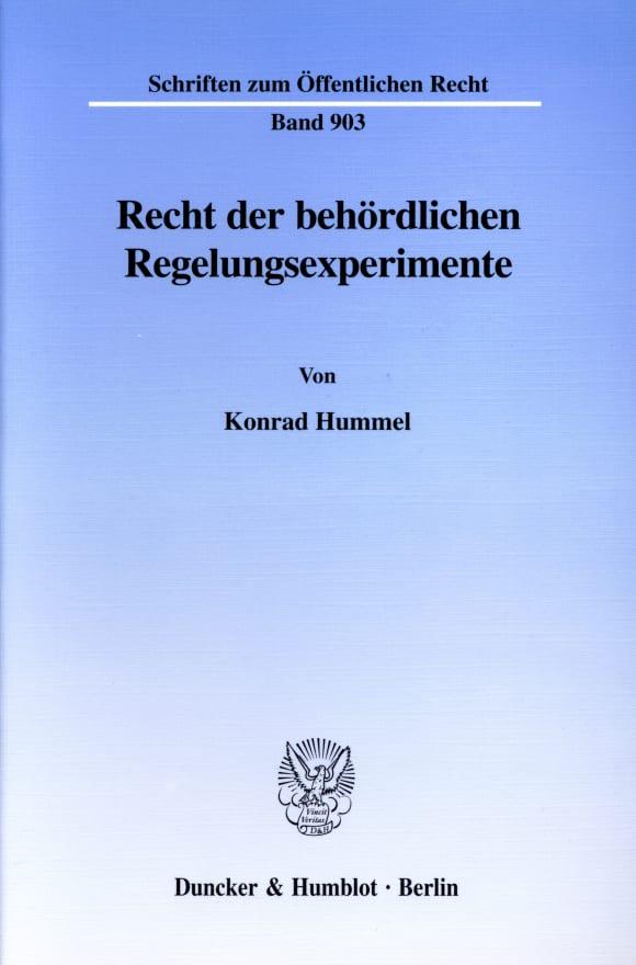 Cover Recht der behördlichen Regelungsexperimente