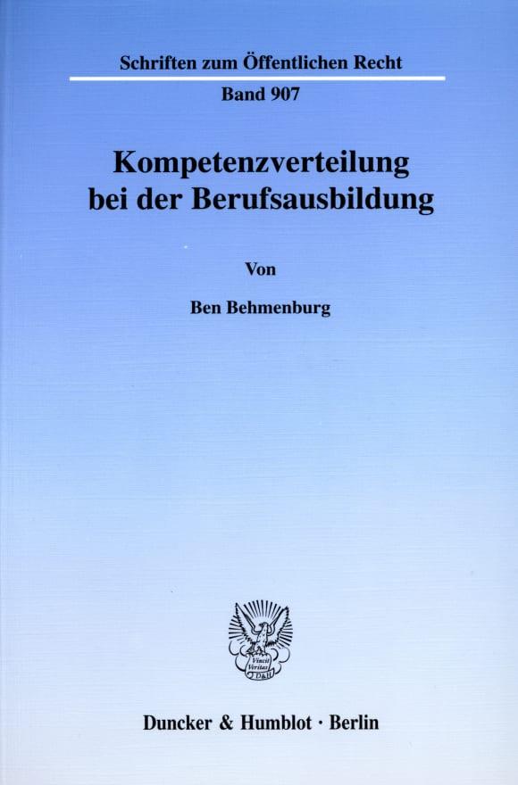 Cover Kompetenzverteilung bei der Berufsausbildung