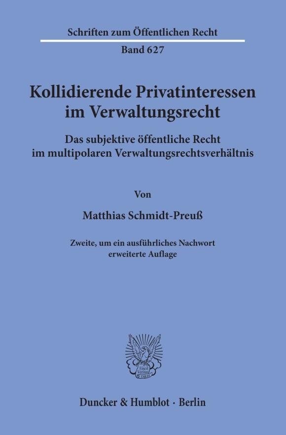 Cover Kollidierende Privatinteressen im Verwaltungsrecht