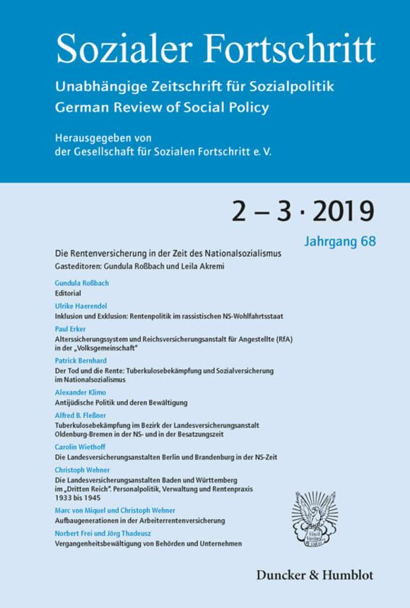Cover Die Rentenversicherung in der Zeit des Nationalsozialismus (SF 2-3/2019)