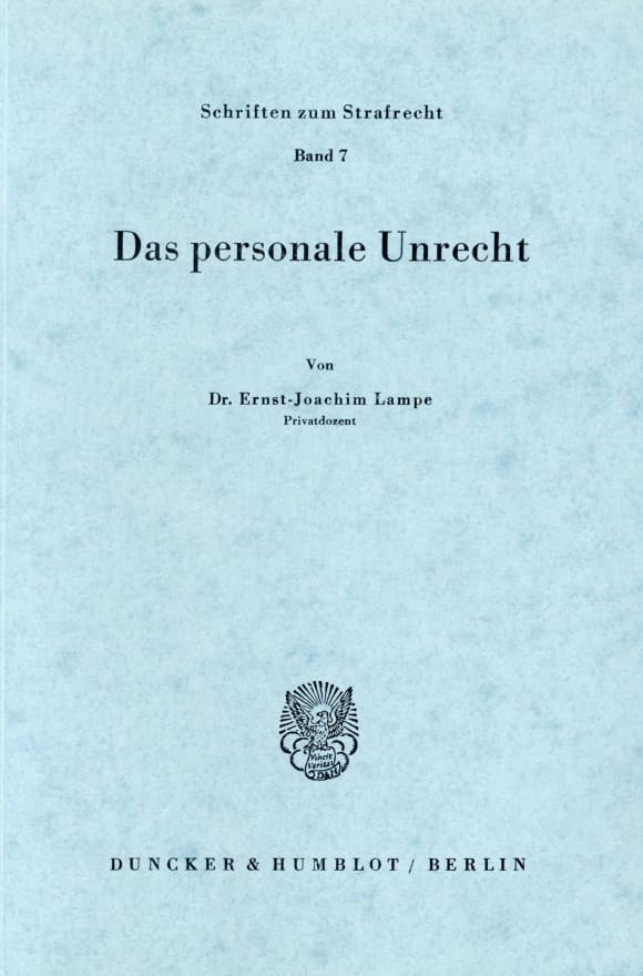 Cover Das personale Unrecht