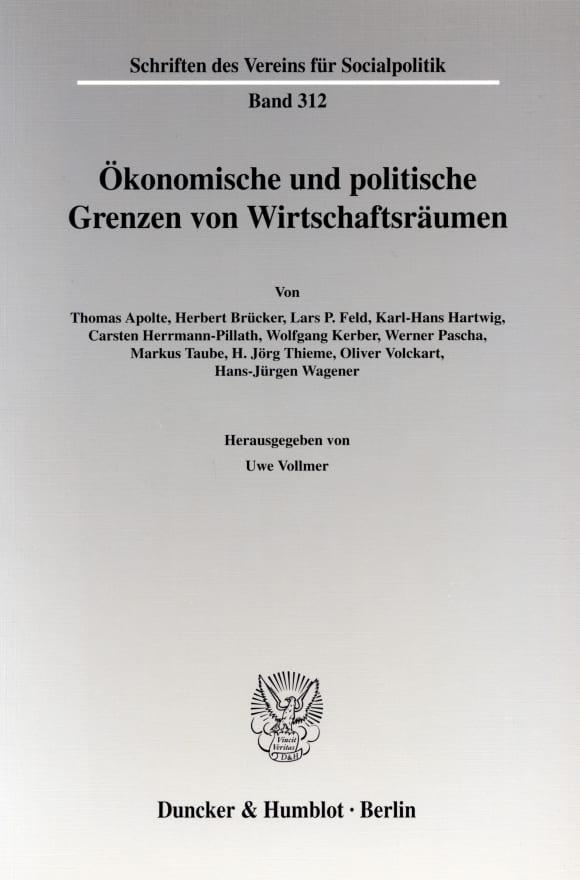 Cover Ökonomische und politische Grenzen von Wirtschaftsräumen