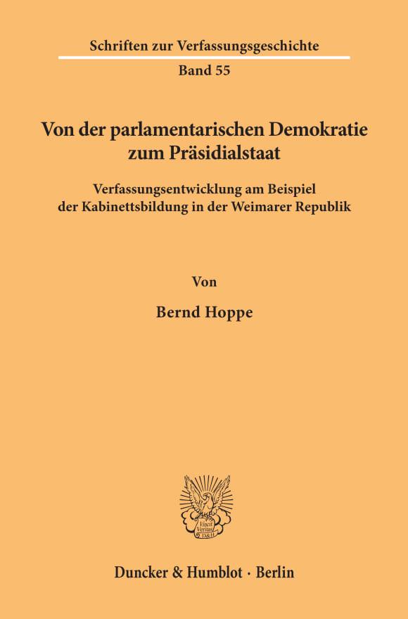 Cover Von der parlamentarischen Demokratie zum Präsidialstaat