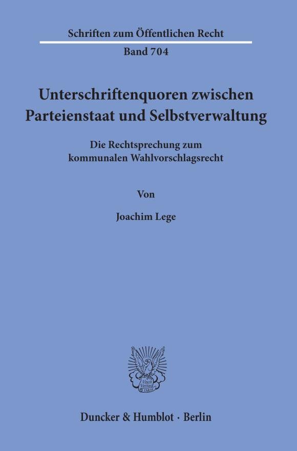 Cover Unterschriftenquoren zwischen Parteienstaat und Selbstverwaltung