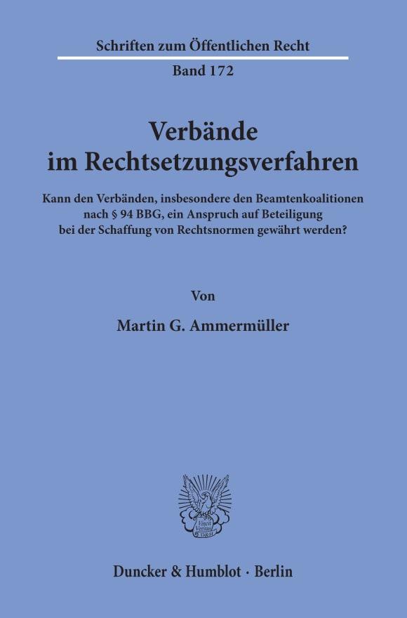 Cover Verbände im Rechtsetzungsverfahren