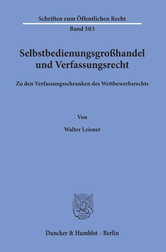 Cover Selbstbedienungsgroßhandel und Verfassungsrecht