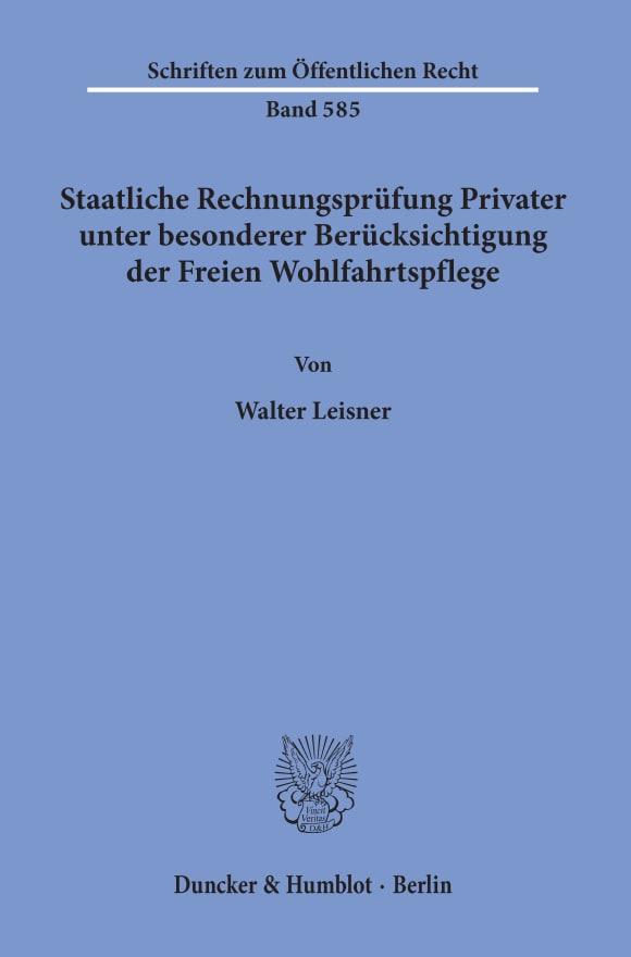 Cover Staatliche Rechnungsprüfung Privater, unter besonderer Berücksichtigung der Freien Wohlfahrtspflege