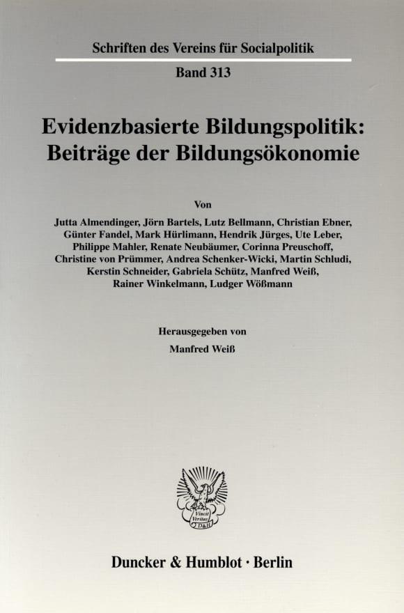 Cover Evidenzbasierte Bildungspolitik: Beiträge der Bildungsökonomie