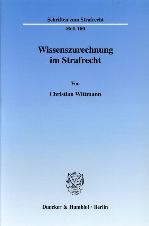 Cover Wissenszurechnung im Strafrecht