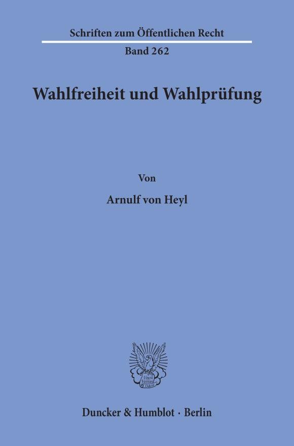 Cover Wahlfreiheit und Wahlprüfung