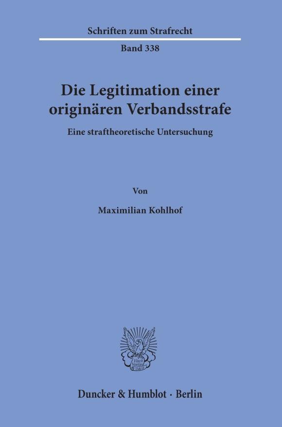 Cover Die Legitimation einer originären Verbandsstrafe