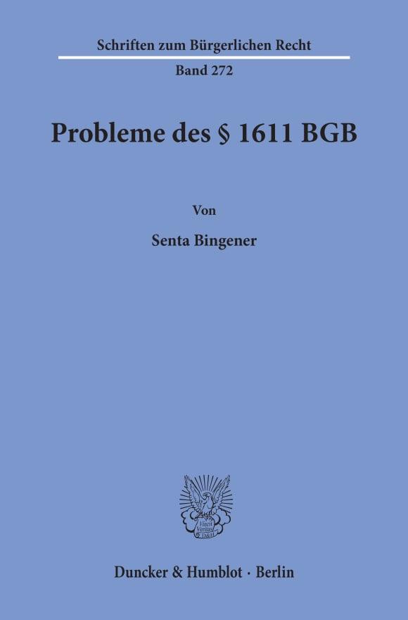 Cover Probleme des § 1611 BGB