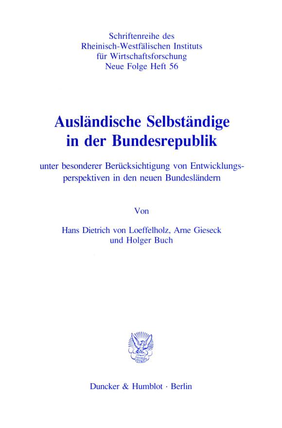 Cover Ausländische Selbständige in der Bundesrepublik