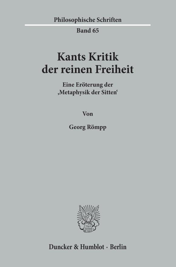 Cover Kants Kritik der reinen Freiheit