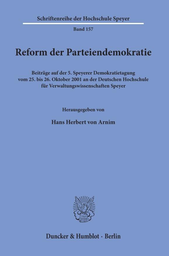 Cover Reform der Parteiendemokratie