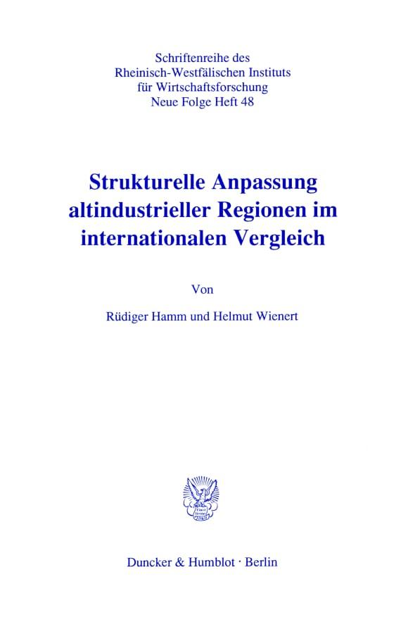 Cover Strukturelle Anpassung altindustrieller Regionen im internationalen Vergleich