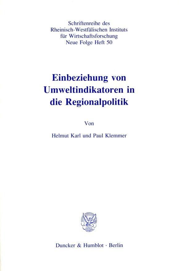 Cover Einbeziehung von Umweltindikatoren in die Regionalpolitik