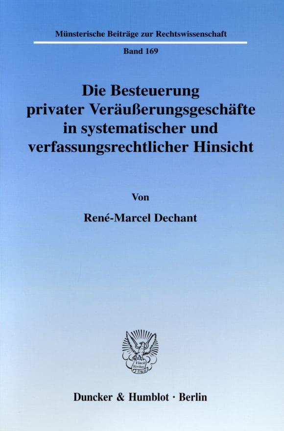 Cover Die Besteuerung privater Veräußerungsgeschäfte in systematischer und verfassungsrechtlicher Hinsicht
