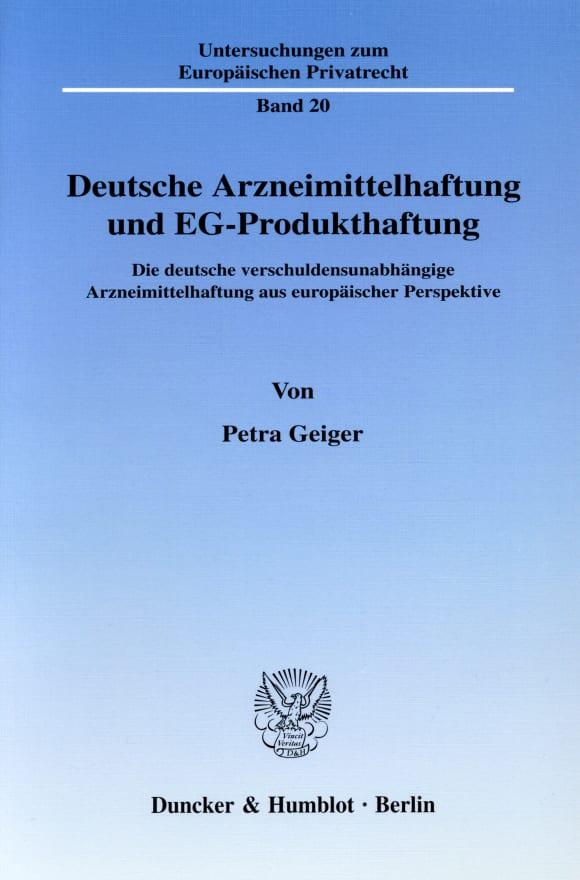 Cover Deutsche Arzneimittelhaftung und EG-Produkthaftung