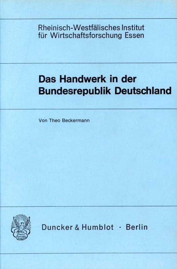 Cover Das Handwerk in der Bundesrepublik Deutschland