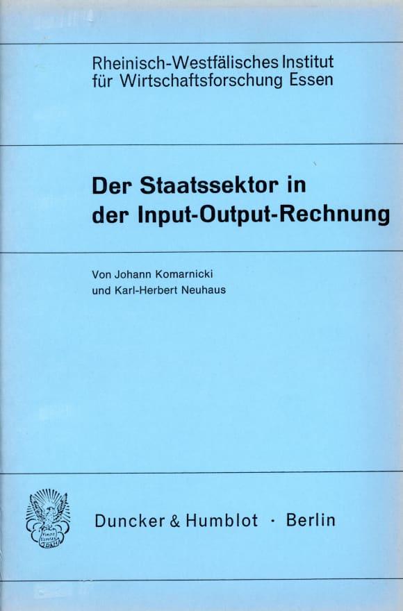Cover Der Staatssektor in der Input-Output-Rechnung