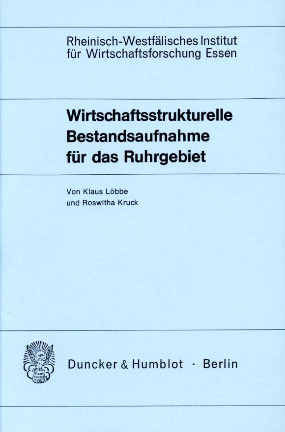 Cover Wirtschaftsstrukturelle Bestandsaufnahme für das Ruhrgebiet