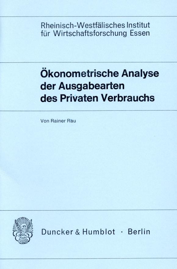 Cover Ökonometrische Analyse der Ausgabearten des Privaten Verbrauchs
