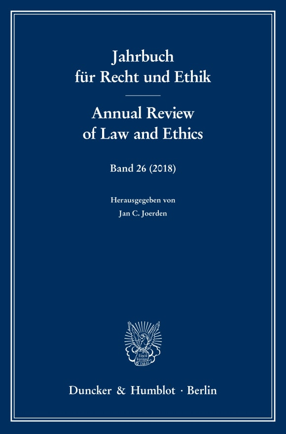 Cover Jahrbuch für Recht und Ethik / Annual Review of Law and Ethics (JRE)