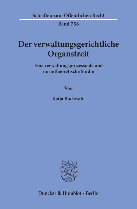 Cover Der verwaltungsgerichtliche Organstreit