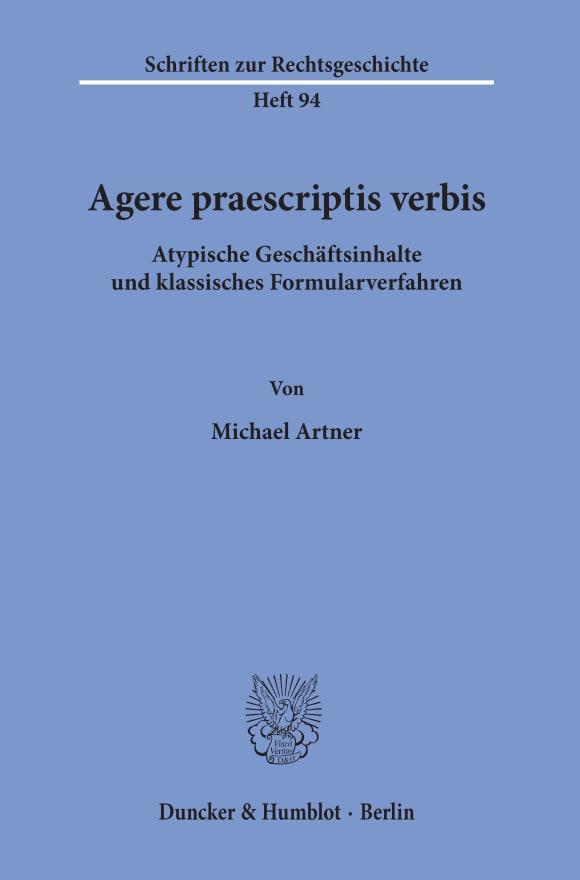 Cover Agere praescriptis verbis