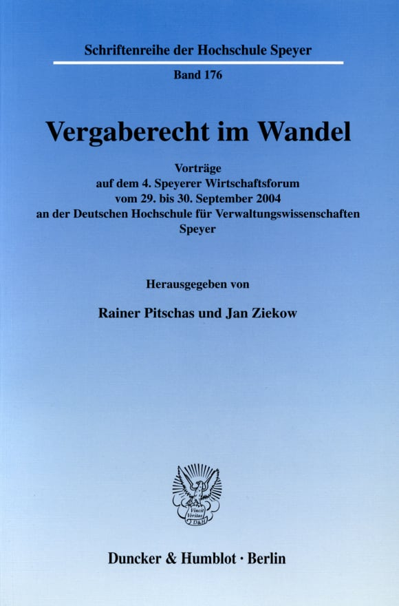 Cover Schriftenreihe der Deutschen Universität für Verwaltungswissenschaften Speyer (HS)