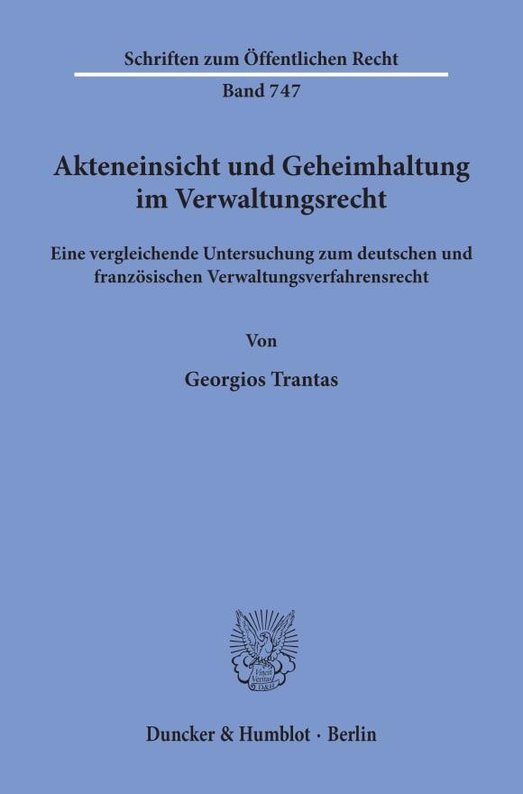 Cover Akteneinsicht und Geheimhaltung im Verwaltungsrecht