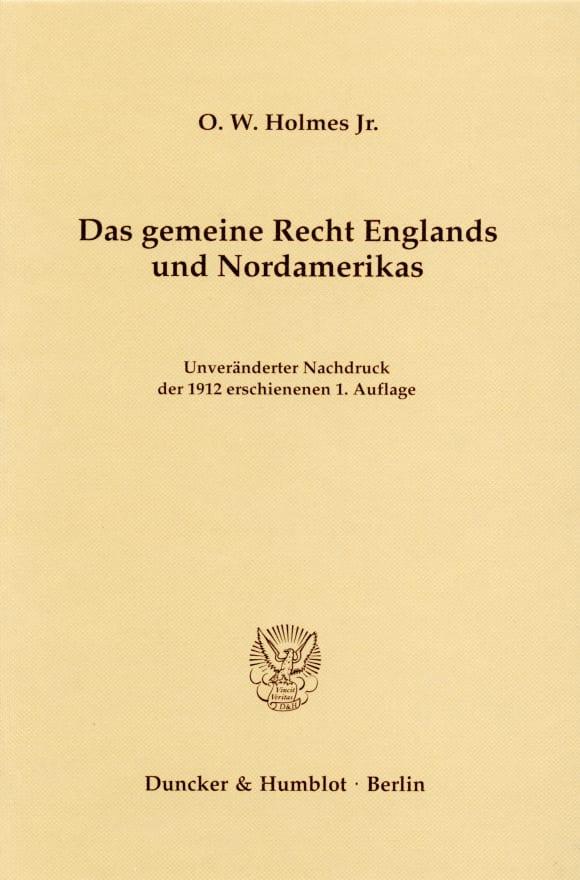 Cover Das gemeine Recht Englands und Nordamerikas